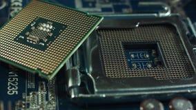 开槽接受在主板的一个处理器和处理器 股票视频