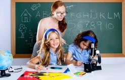 开玩笑书呆子学校实习教师妇女 免版税图库摄影
