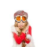 开玩笑有雪冬天玻璃和空白毛皮的女孩 库存图片