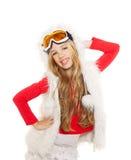 开玩笑有雪冬天玻璃和空白毛皮的女孩 免版税图库摄影