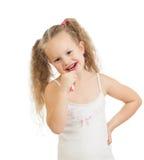 开玩笑清洁牙和微笑,查出在白色 免版税库存图片