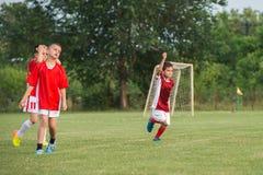 开玩笑足球比赛 库存图片
