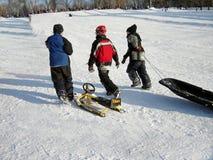 开玩笑雪橇一些 免版税库存照片