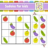 开玩笑sudoku 教育开发的活页练习题 与图片的活动页 孩子的难题比赛 逻辑思维训练 皇族释放例证