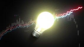 开电灯泡光,并且增加经济储蓄图和图表,想法概念 皇族释放例证