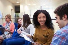 开的大学生与家庭教师的非正式会谈 免版税库存图片
