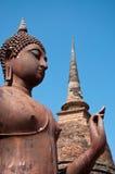 离开的泰国Sukhothai菩萨寺庙 图库摄影