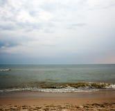 离开的海滩在夏天 免版税库存照片