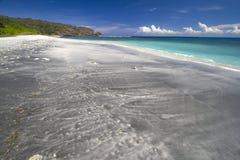 离开的黑沙子海滩 库存图片