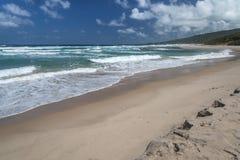 离开的Cattlewash海滩巴巴多斯 免版税库存照片