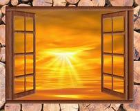 开窗口云彩太阳 库存图片
