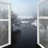 开窗口向冬天河 免版税库存图片
