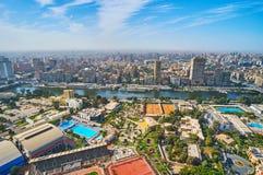 开罗和吉萨棉从空气,埃及 库存照片