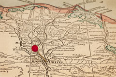 开罗和埃及葡萄酒地图的 免版税库存照片
