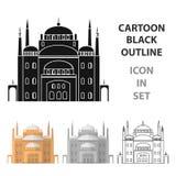 开罗在白色背景在动画片样式的城堡象隔绝的 图库摄影