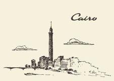 开罗地平线埃及例证被画的剪影 库存例证