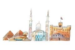 开罗埃及地平线著名地标移动和旅游业waercolor例证 库存例证