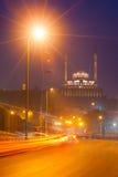 开罗埃及城堡黄昏落后的光 免版税库存图片