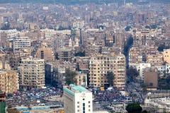 开罗埃及抗议者方形tahrir视图 免版税图库摄影