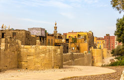 开罗城市墙壁在伊斯兰教的区 库存照片