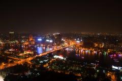 开罗夜视图从开罗塔的 免版税库存图片