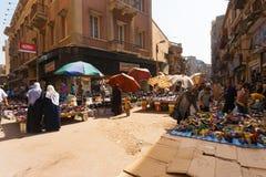 开罗市场鞋子街道妇女 库存照片