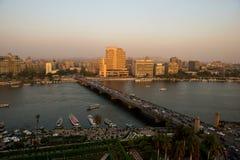 开罗市日落视图  库存图片