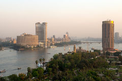 开罗市日落视图  免版税库存图片