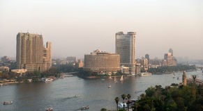 开罗市日落视图  库存照片