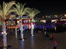开罗市节日点燃在夜tagamou北部开罗 免版税图库摄影