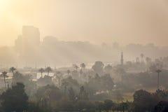开罗早晨薄雾日出 库存图片