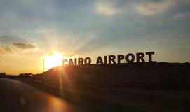 开罗机场牌 免版税库存照片