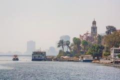 开罗看法从尼罗河的 库存图片