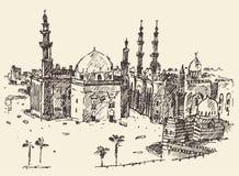开罗葡萄酒被刻记的传染媒介手拉的剪影 向量例证