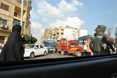 开罗街看法从汽车的 免版税图库摄影