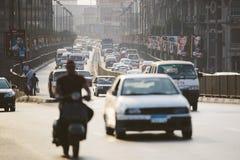 开罗高峰时间交通 免版税库存图片
