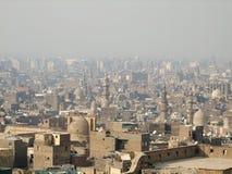 开罗鸟瞰图以烟雾 免版税库存图片
