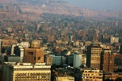 开罗鸟瞰图在日落期间的在埃及在非洲 免版税库存照片