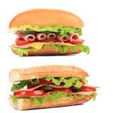 开胃三明治用乳酪和香肠。 免版税图库摄影