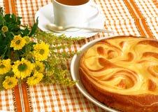 开胃乳酪蛋糕杯子开花茶 库存图片