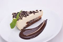 开胃乳酪蛋糕片断与巧克力片的在一块白色板材 库存照片
