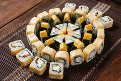 开胃了不起的寿司集合,日本海鲜 免版税库存图片