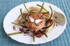 开胃切好的炸肉排肉意粉 库存图片