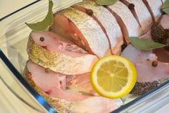 开胃切片与柠檬、胡椒和海湾叶子clos的鱼 库存图片