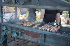 开胃可口油煎的肉片在串的在一个大格栅露天被烤 人烤肉 烤肉串 库存图片