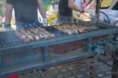 开胃可口油煎的肉片在串的在一个大格栅露天被烤 人烤肉 烤肉串 免版税库存图片