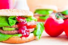 开胃大乳酪汉堡新鲜的莴苣黄瓜 免版税库存照片
