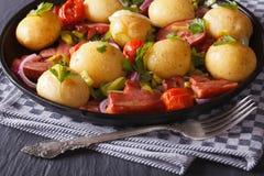 开胃嫩土豆土豆用烟肉和草本,水平 免版税库存照片