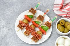 开胃小菜串 美食的开胃菜 库存照片