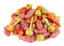开胃小菜在白色背景隔绝的快餐选择 库存图片